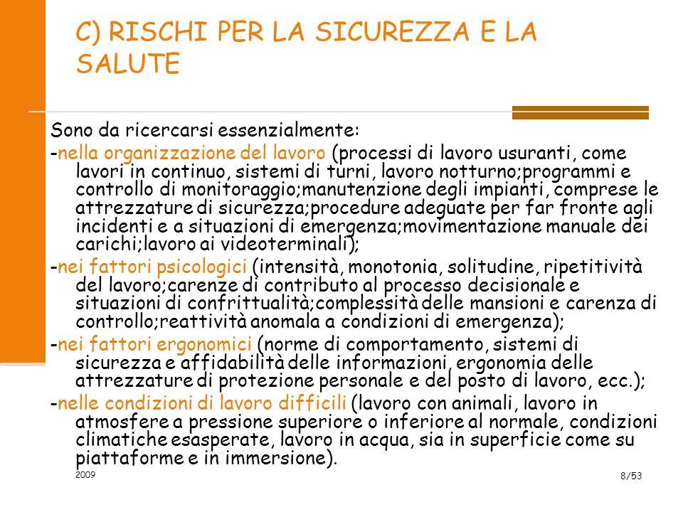 C) RISCHI PER LA SICUREZZA E LA SALUTE