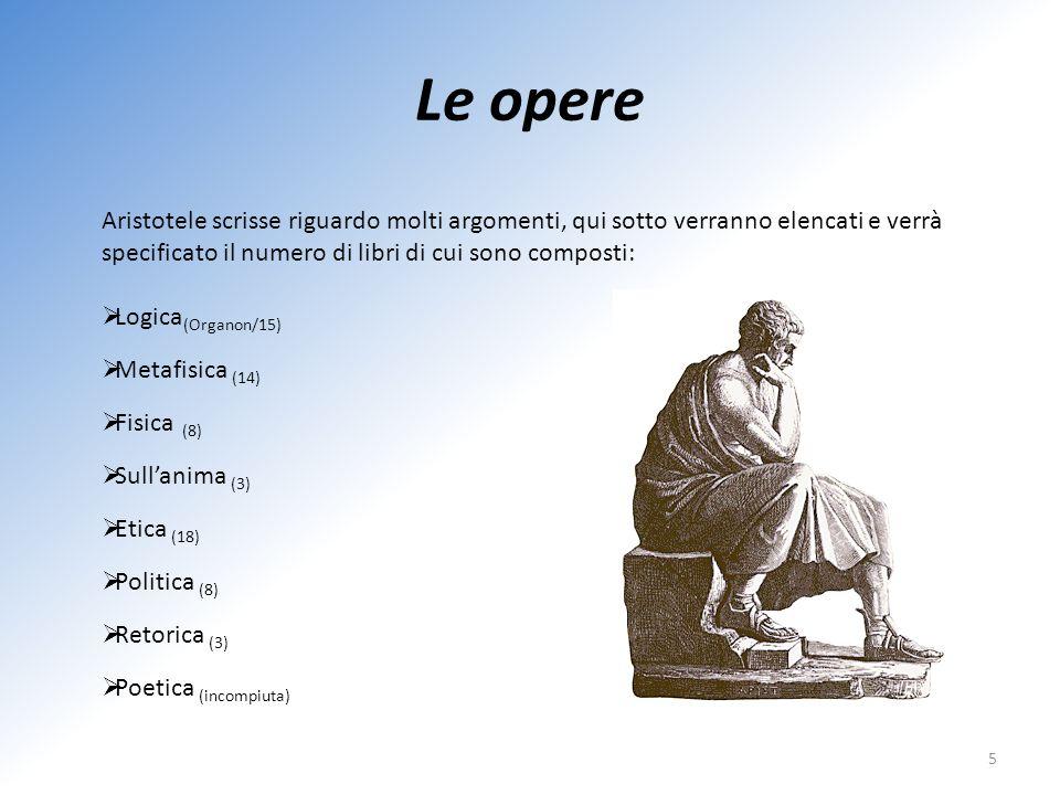 Le opere Aristotele scrisse riguardo molti argomenti, qui sotto verranno elencati e verrà specificato il numero di libri di cui sono composti: