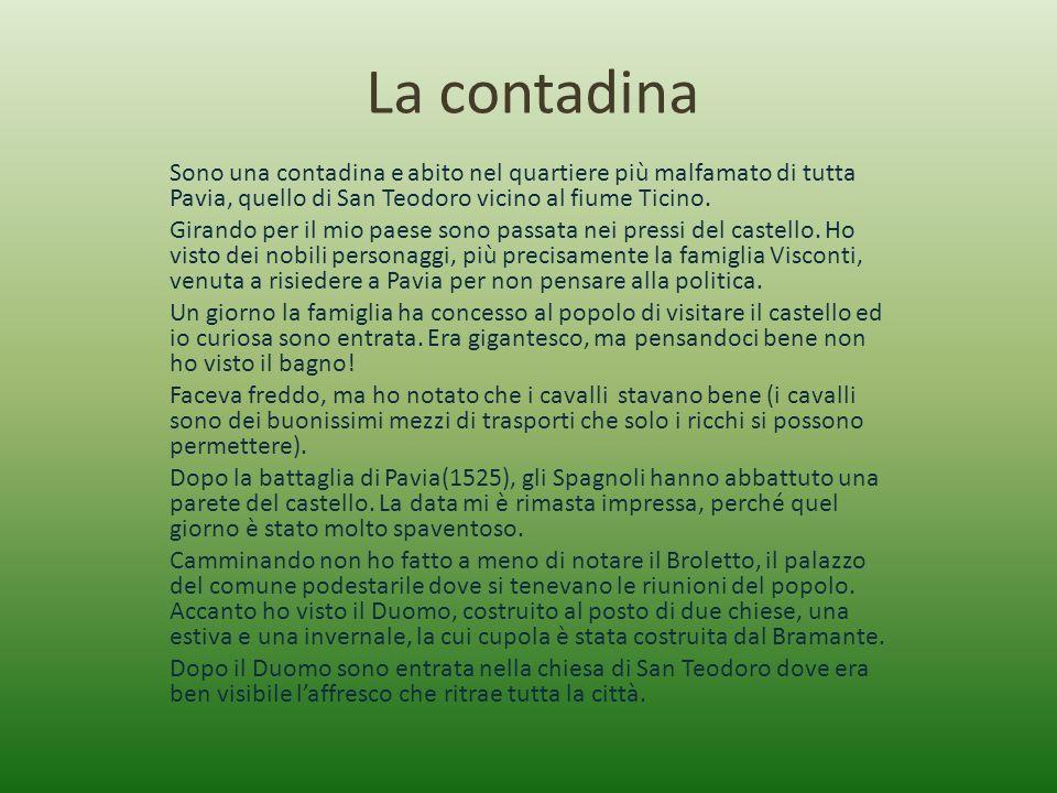 La contadina Sono una contadina e abito nel quartiere più malfamato di tutta Pavia, quello di San Teodoro vicino al fiume Ticino.
