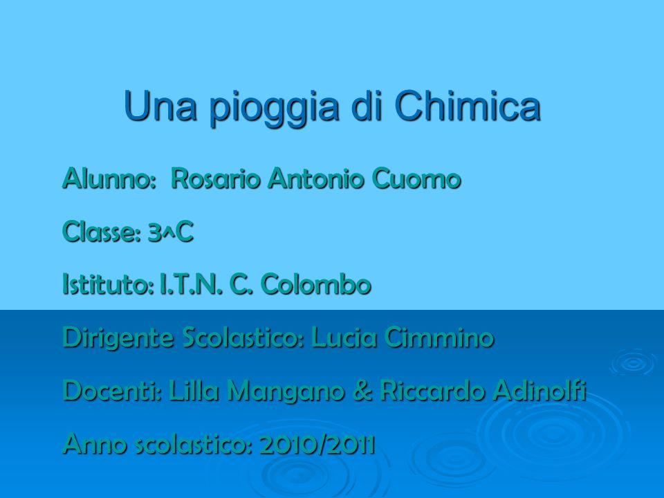 Una pioggia di Chimica Alunno: Rosario Antonio Cuomo Classe: 3^C