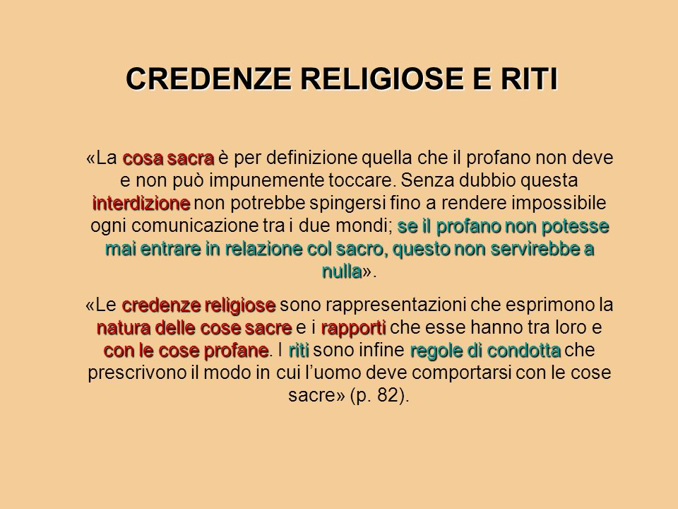 CREDENZE RELIGIOSE E RITI