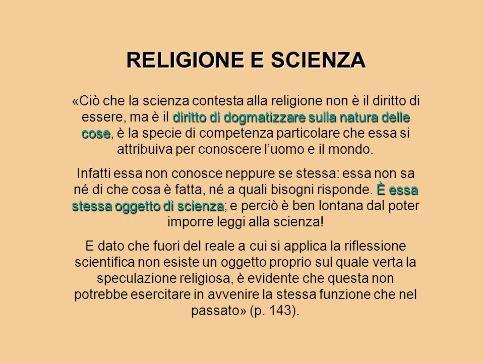 RELIGIONE E SCIENZA