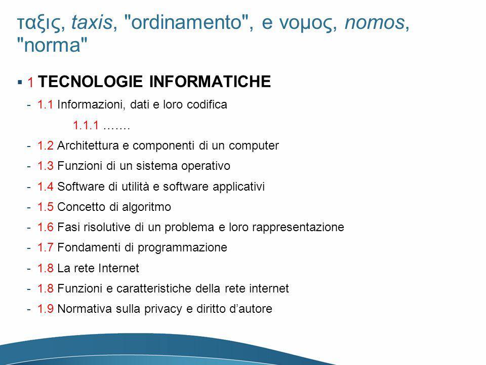ταξις, taxis, ordinamento , e νομος, nomos, norma