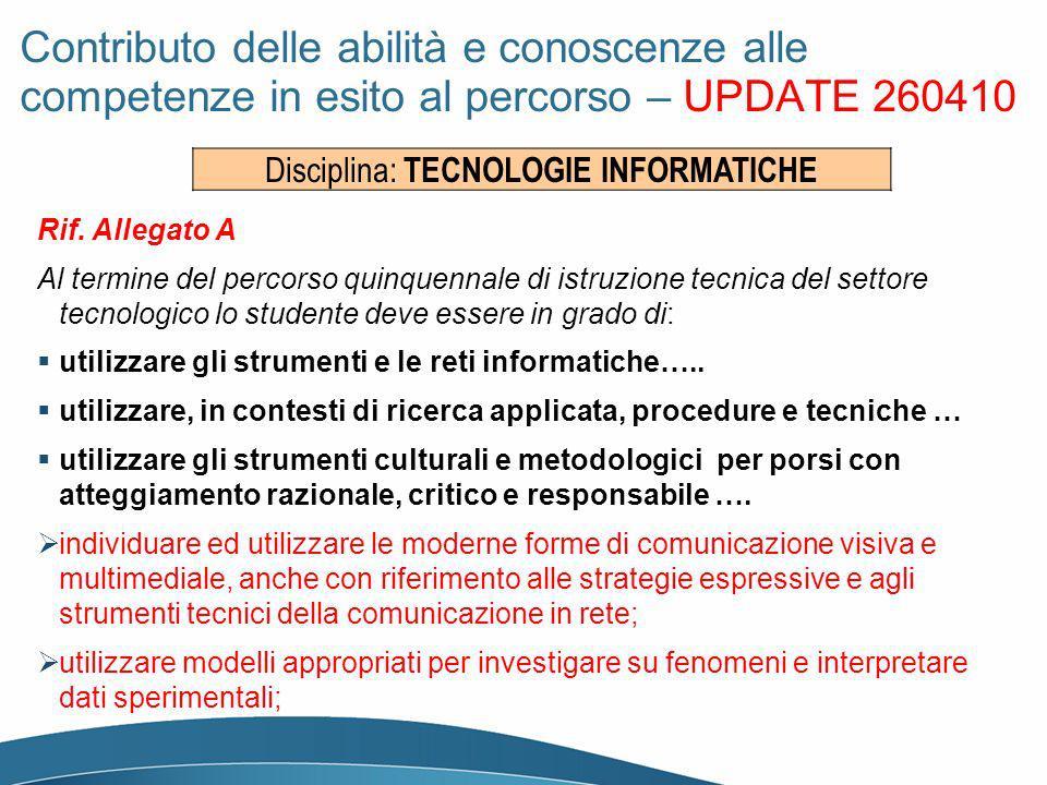 Disciplina: TECNOLOGIE INFORMATICHE