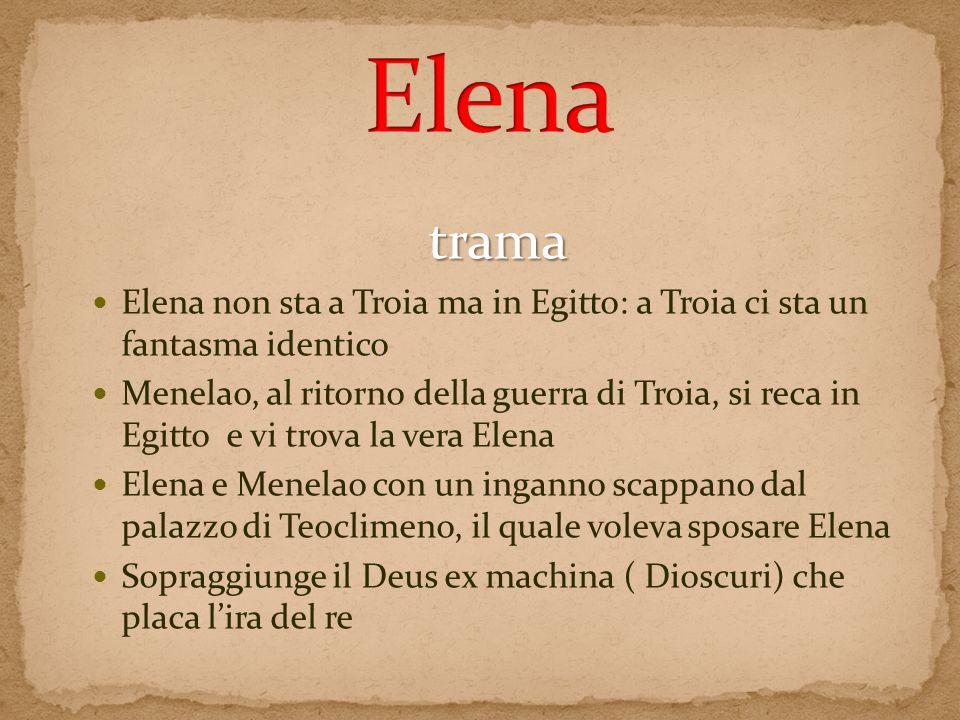 Elena trama. Elena non sta a Troia ma in Egitto: a Troia ci sta un fantasma identico.