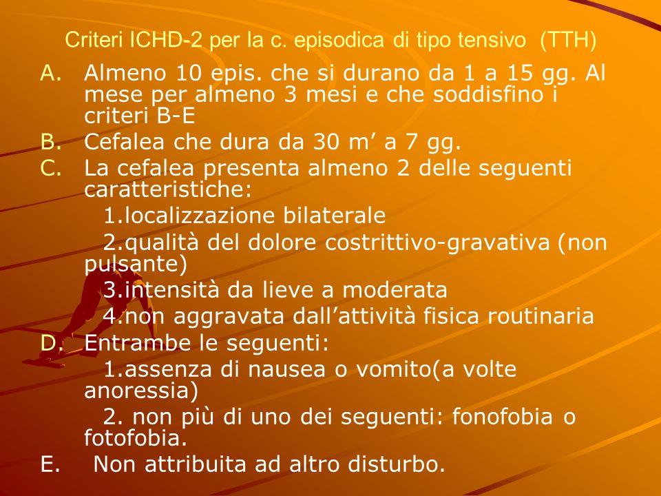 Criteri ICHD-2 per la c. episodica di tipo tensivo (TTH)