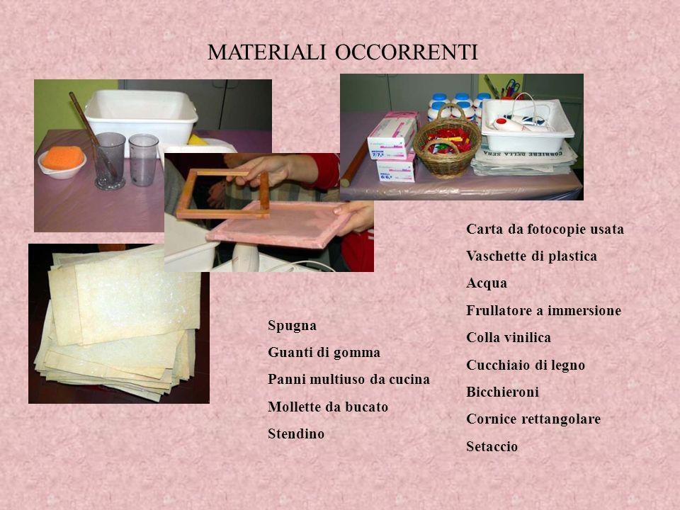 MATERIALI OCCORRENTI Carta da fotocopie usata Vaschette di plastica