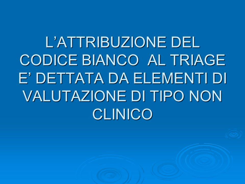 L'ATTRIBUZIONE DEL CODICE BIANCO AL TRIAGE E' DETTATA DA ELEMENTI DI VALUTAZIONE DI TIPO NON CLINICO
