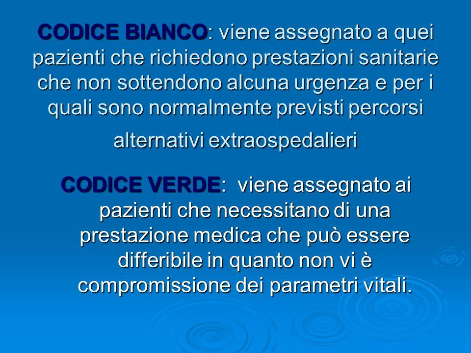 CODICE BIANCO: viene assegnato a quei pazienti che richiedono prestazioni sanitarie che non sottendono alcuna urgenza e per i quali sono normalmente previsti percorsi alternativi extraospedalieri