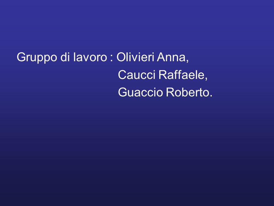 Gruppo di lavoro : Olivieri Anna,