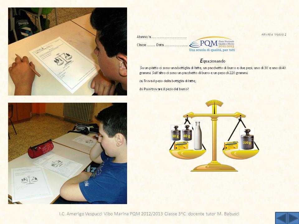 ,. I.C. Amerigo Vespucci Vibo Marina PQM 2012/2013 Classe 3^C docente tutor M. Babusci