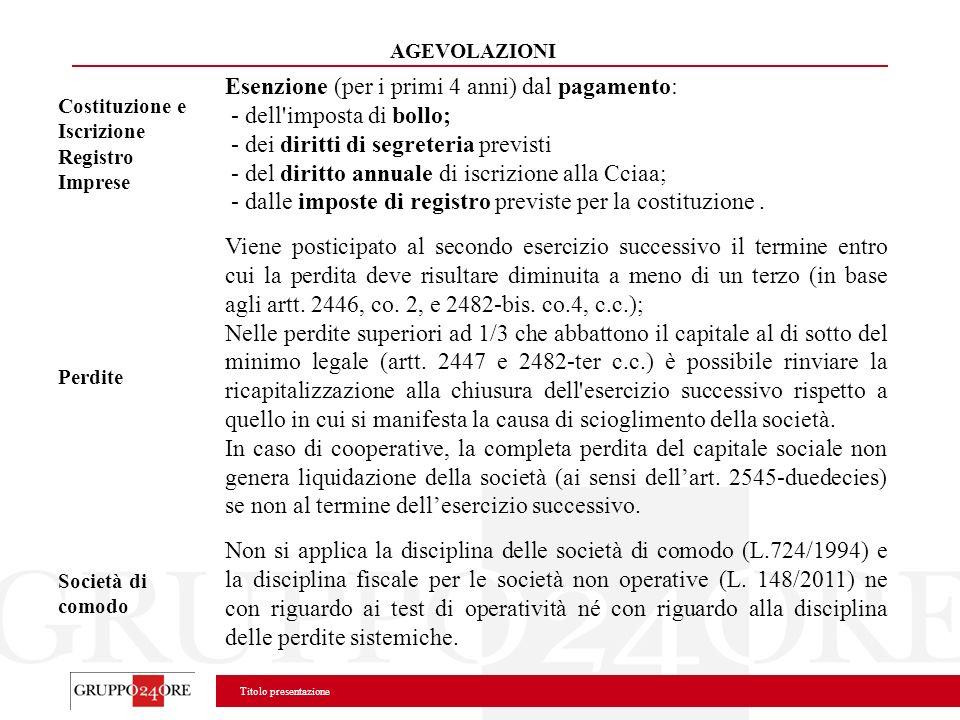 Esenzione (per i primi 4 anni) dal pagamento: - dell imposta di bollo;