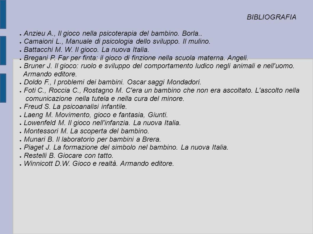 BIBLIOGRAFIA Anzieu A., Il gioco nella psicoterapia del bambino. Borla.. Camaioni L., Manuale di psicologia dello sviluppo. Il mulino.