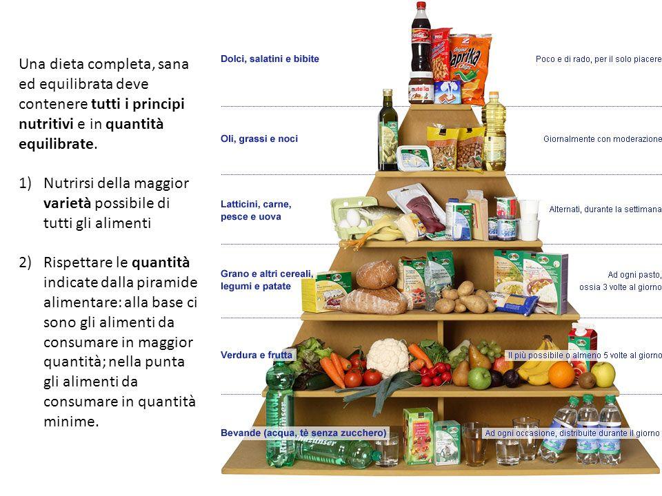 Una dieta completa, sana ed equilibrata deve contenere tutti i principi nutritivi e in quantità equilibrate.