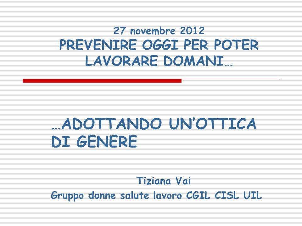 27 novembre 2012 PREVENIRE OGGI PER POTER LAVORARE DOMANI…