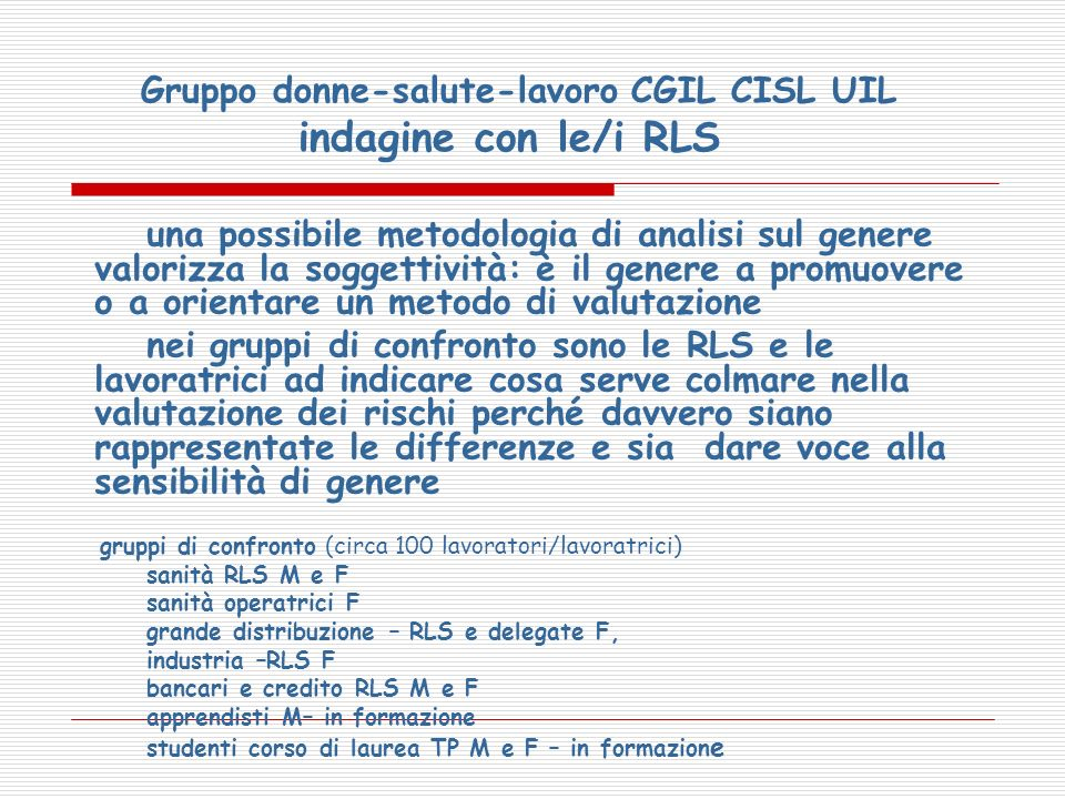 Gruppo donne-salute-lavoro CGIL CISL UIL indagine con le/i RLS