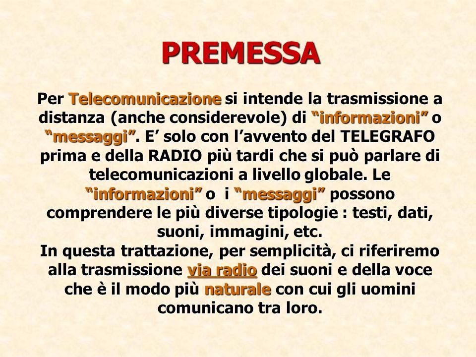 PREMESSA Per Telecomunicazione si intende la trasmissione a distanza (anche considerevole) di informazioni o messaggi .