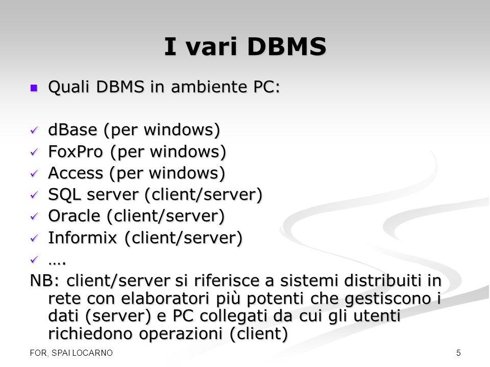 I vari DBMS Quali DBMS in ambiente PC: dBase (per windows)