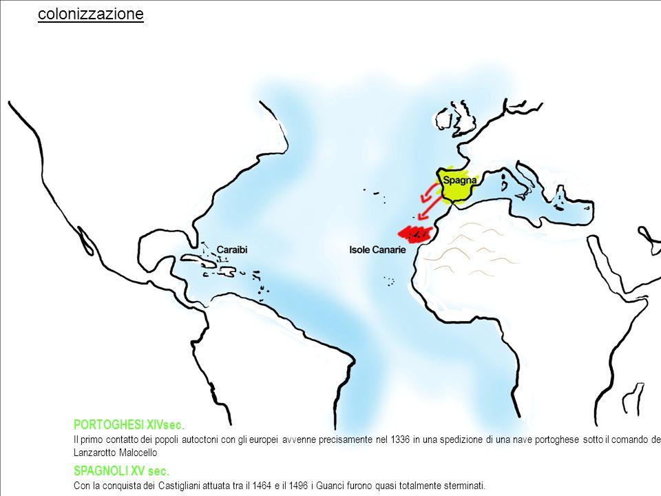 colonizzazione PORTOGHESI XIVsec. SPAGNOLI XV sec.