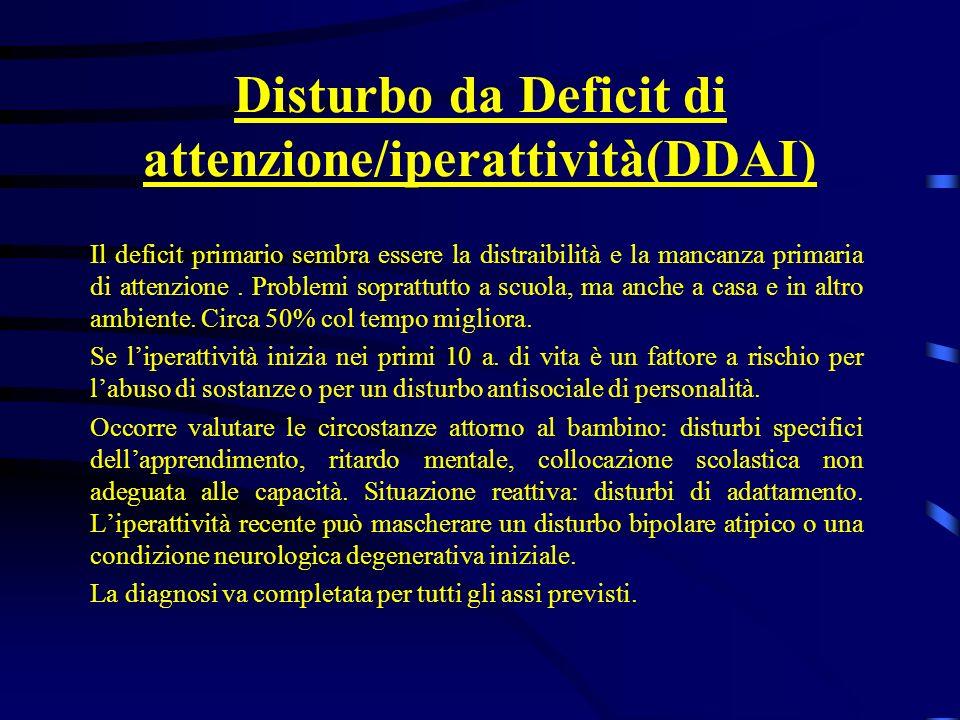 Disturbo da Deficit di attenzione/iperattività(DDAI)
