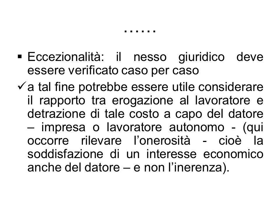…… Eccezionalità: il nesso giuridico deve essere verificato caso per caso.