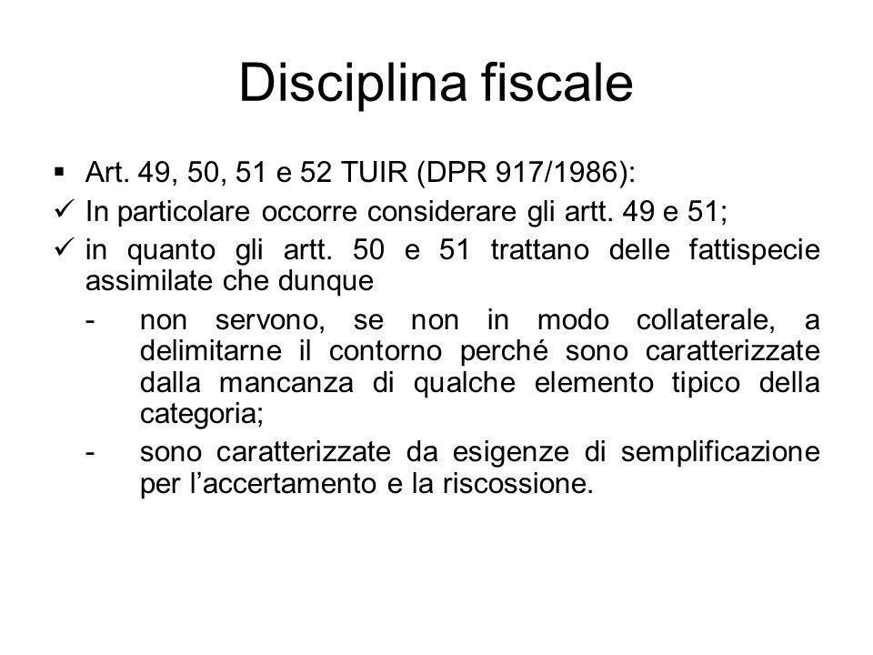 Disciplina fiscale Art. 49, 50, 51 e 52 TUIR (DPR 917/1986):
