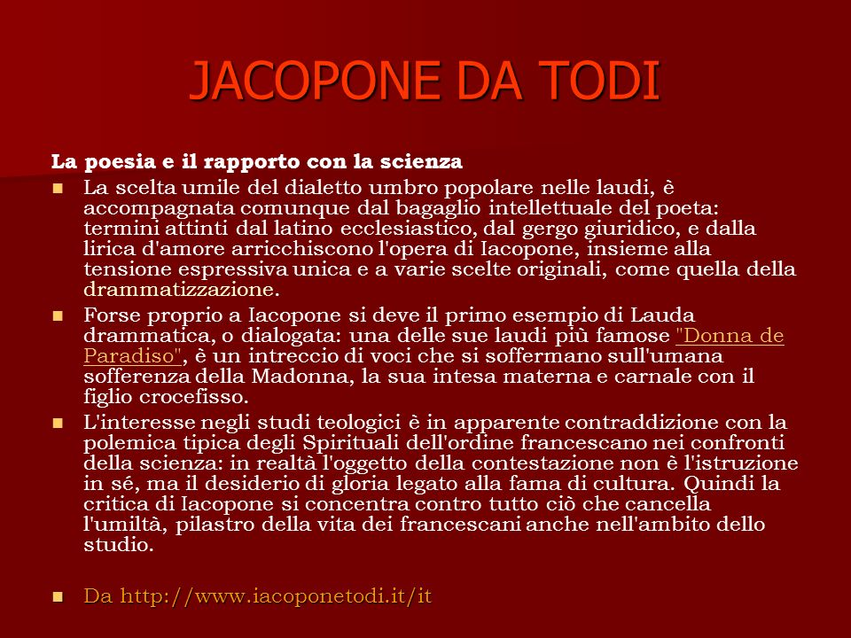 JACOPONE DA TODI La poesia e il rapporto con la scienza