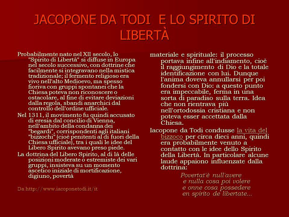 JACOPONE DA TODI E LO SPIRITO DI LIBERTÀ