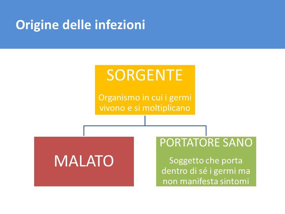 SORGENTE MALATO Origine delle infezioni PORTATORE SANO