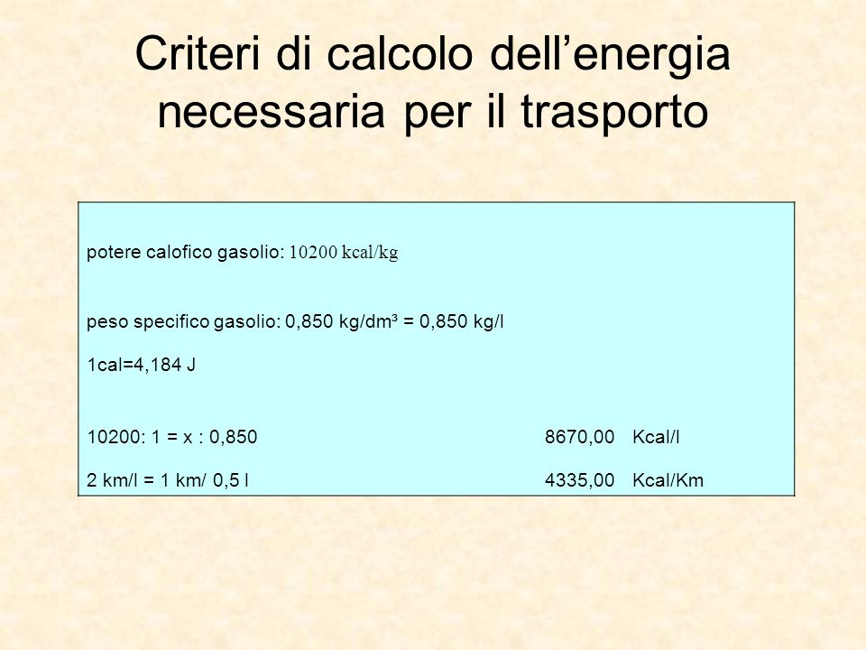 Criteri di calcolo dell'energia necessaria per il trasporto