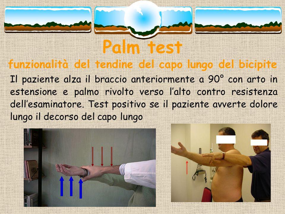 Palm test funzionalità del tendine del capo lungo del bicipite