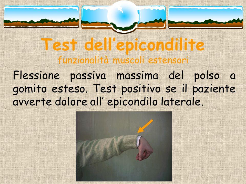 Test dell'epicondilite funzionalità muscoli estensori