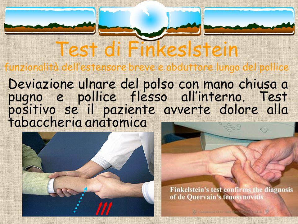 Test di Finkeslstein funzionalità dell'estensore breve e abduttore lungo del pollice