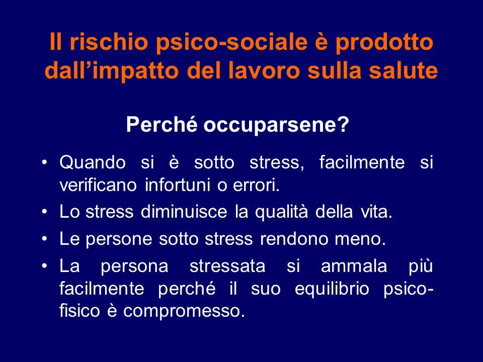 Il rischio psico-sociale è prodotto dall'impatto del lavoro sulla salute