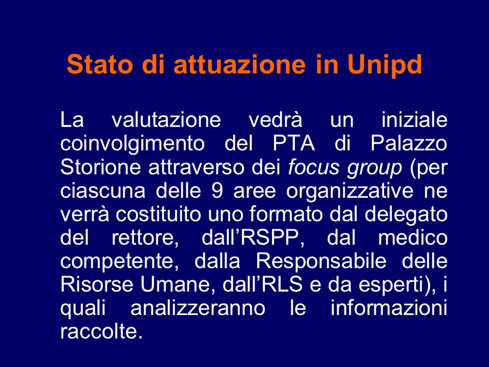 Stato di attuazione in Unipd