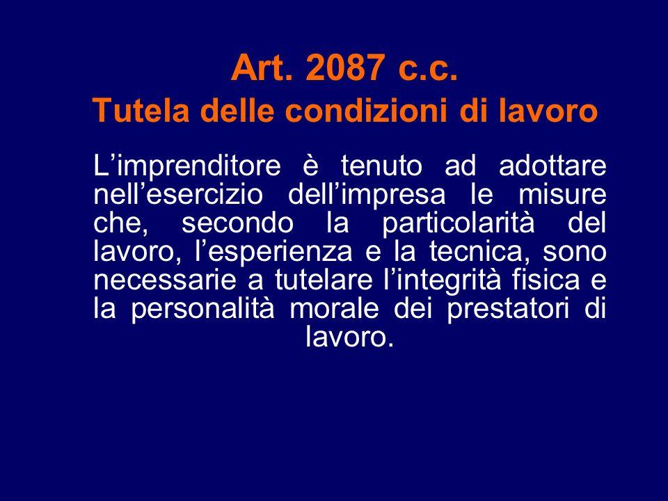 Art. 2087 c.c. Tutela delle condizioni di lavoro
