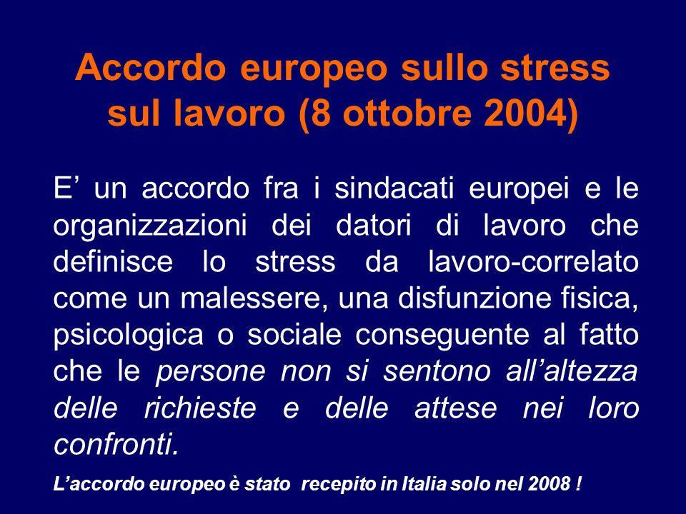 Accordo europeo sullo stress sul lavoro (8 ottobre 2004)