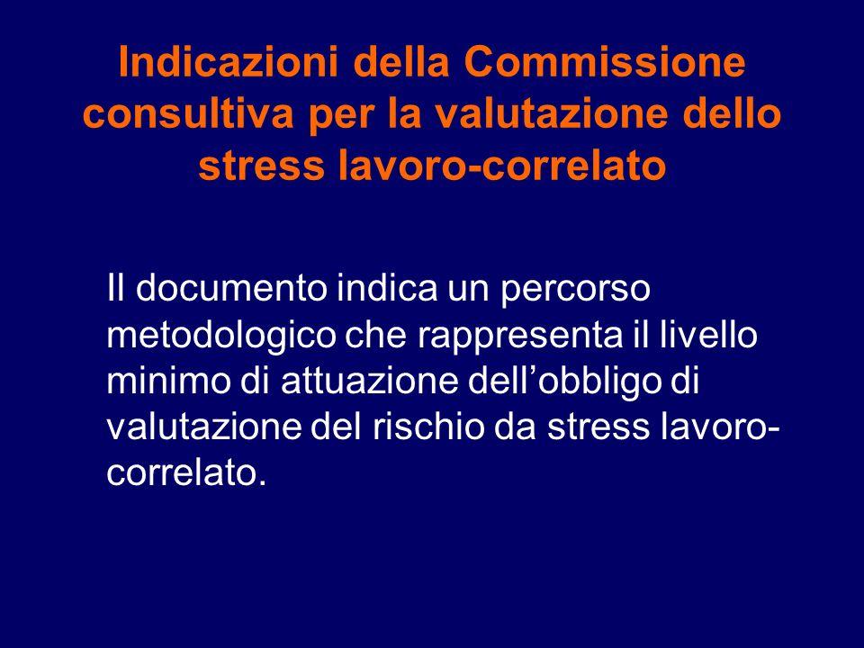Indicazioni della Commissione consultiva per la valutazione dello stress lavoro-correlato