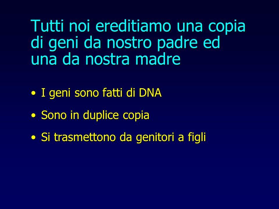 Tutti noi ereditiamo una copia di geni da nostro padre ed una da nostra madre