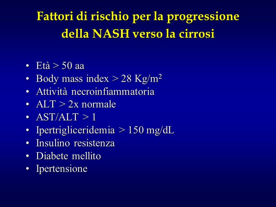 Fattori di rischio per la progressione della NASH verso la cirrosi