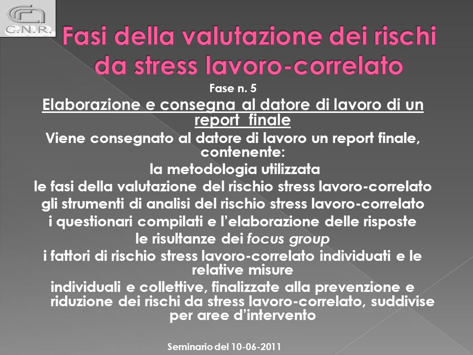 Fasi della valutazione dei rischi da stress lavoro-correlato