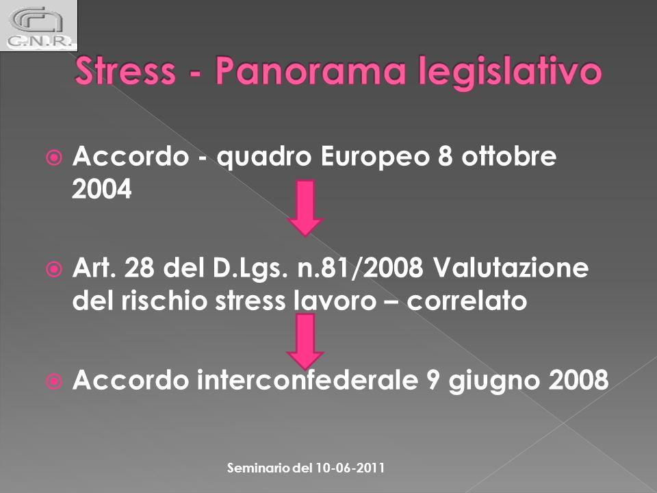 Stress - Panorama legislativo