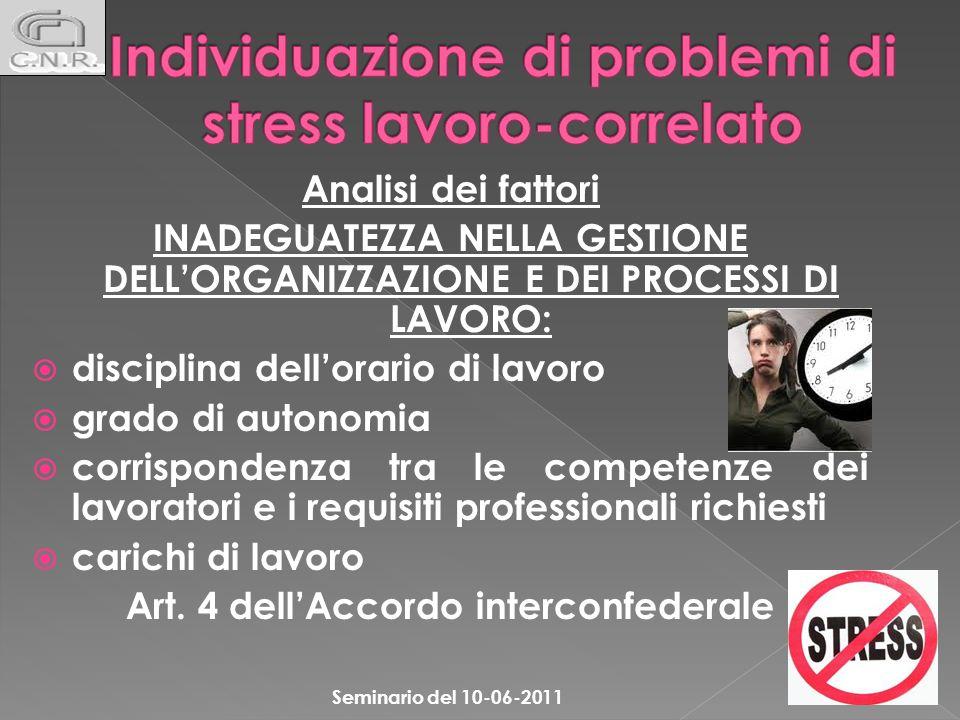 Individuazione di problemi di stress lavoro-correlato