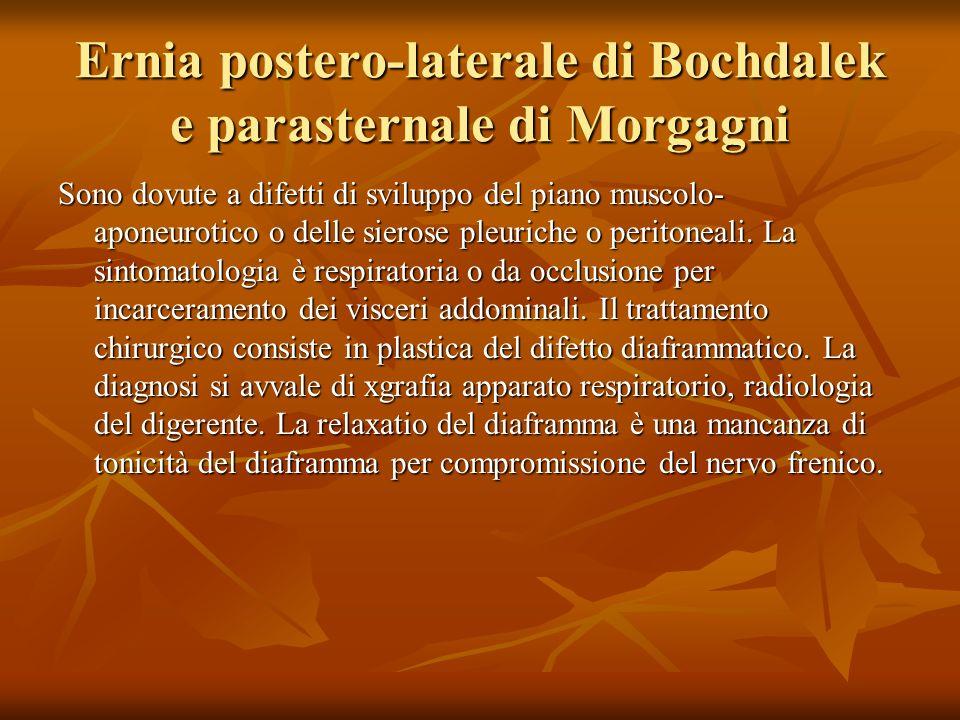 Ernia postero-laterale di Bochdalek e parasternale di Morgagni