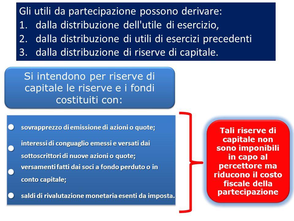 • Gli utili da partecipazione possono derivare: