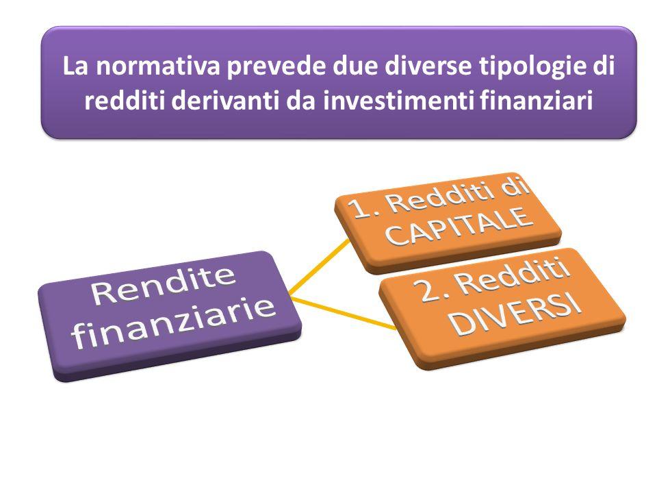 La normativa prevede due diverse tipologie di redditi derivanti da investimenti finanziari