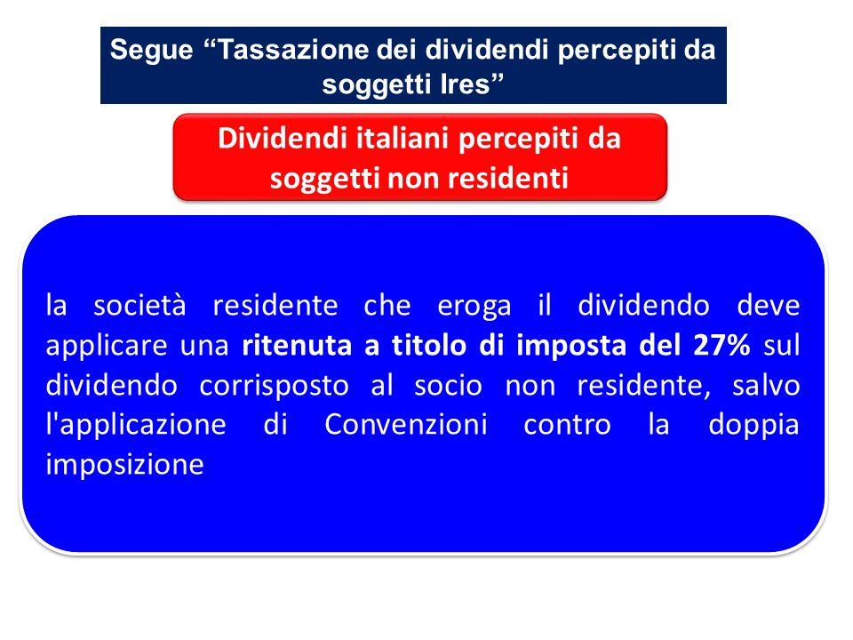 Dividendi italiani percepiti da soggetti non residenti