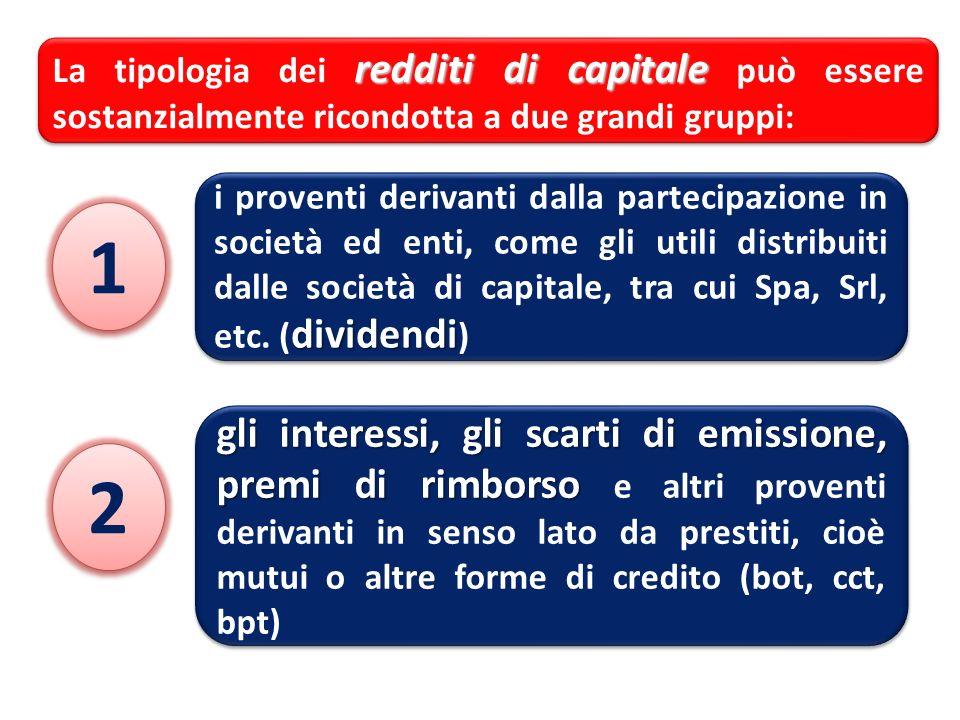 La tipologia dei redditi di capitale può essere sostanzialmente ricondotta a due grandi gruppi: