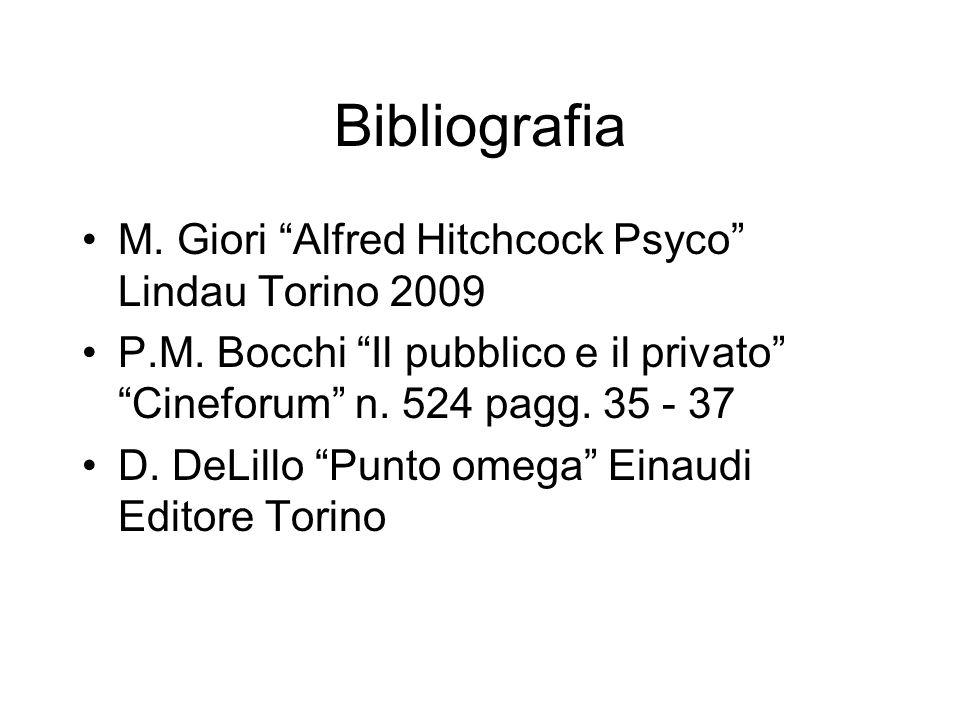 Bibliografia M. Giori Alfred Hitchcock Psyco Lindau Torino 2009