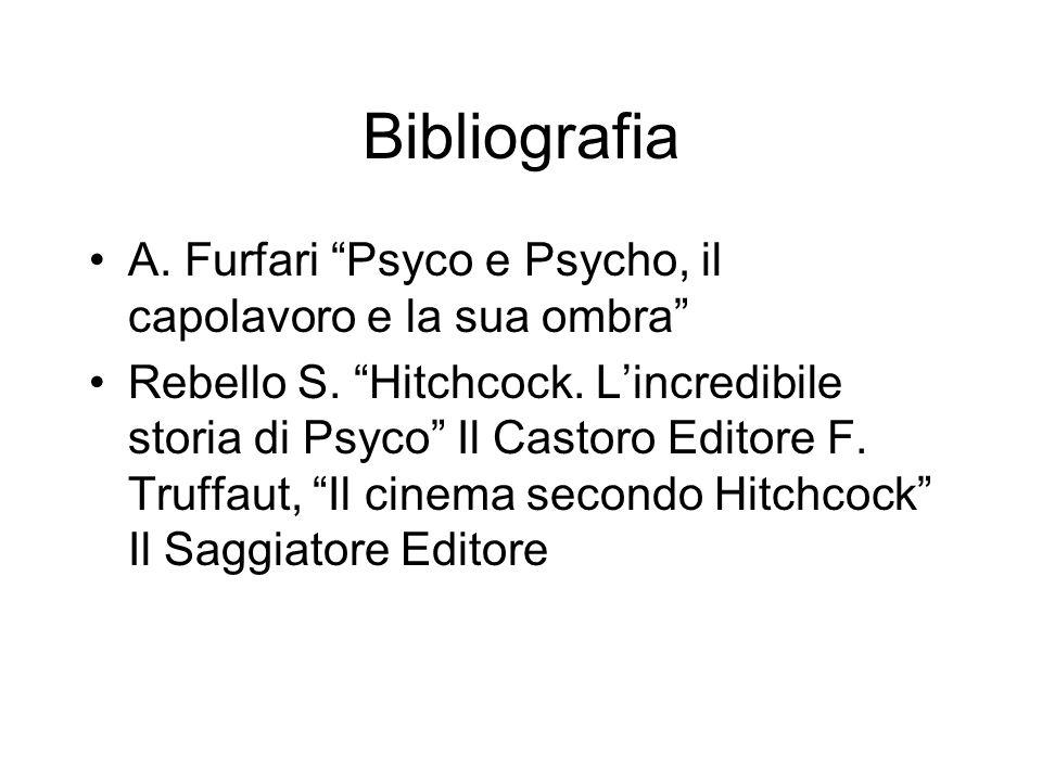 Bibliografia A. Furfari Psyco e Psycho, il capolavoro e la sua ombra